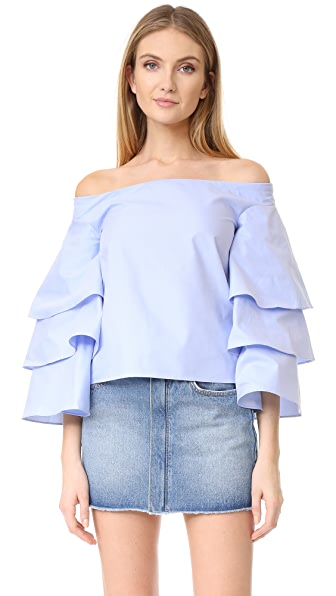 endless rose Three Layers Sleeve Top - Dusty Blue