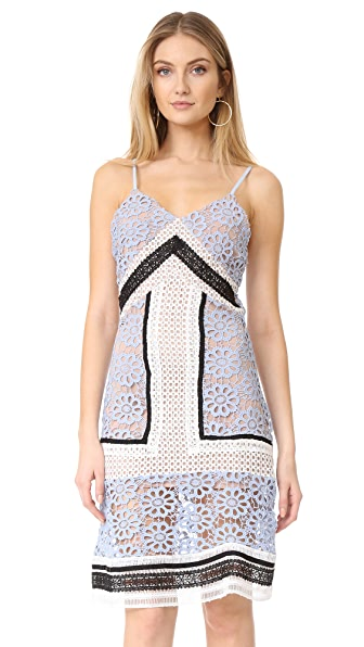 endless rose Contrast Lace Dress - Dusty Blue Combo