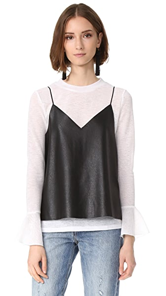 endless rose Pullover with Faux Leather Cami - Off White/Black
