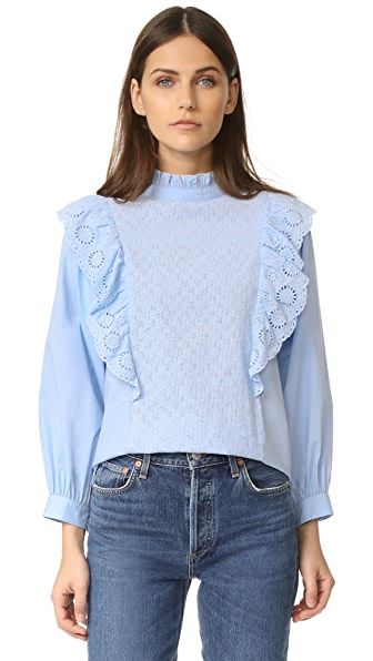 endless rose Ruffled Blouse with Wide Sleeves - Pale Blue