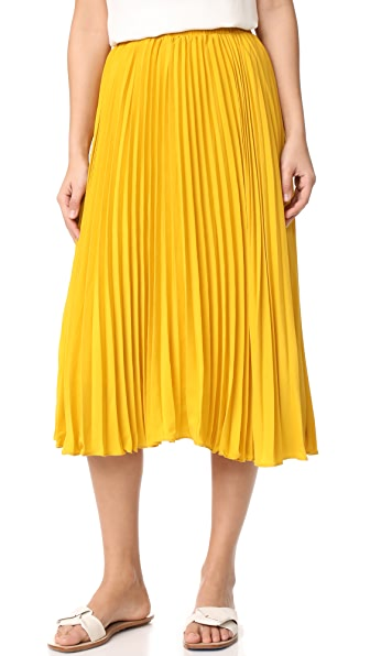 endless rose Pleated Long Skirt In Honey Yellow