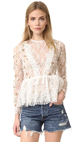 endless rose Embroidered Lace Top - Off White Combo