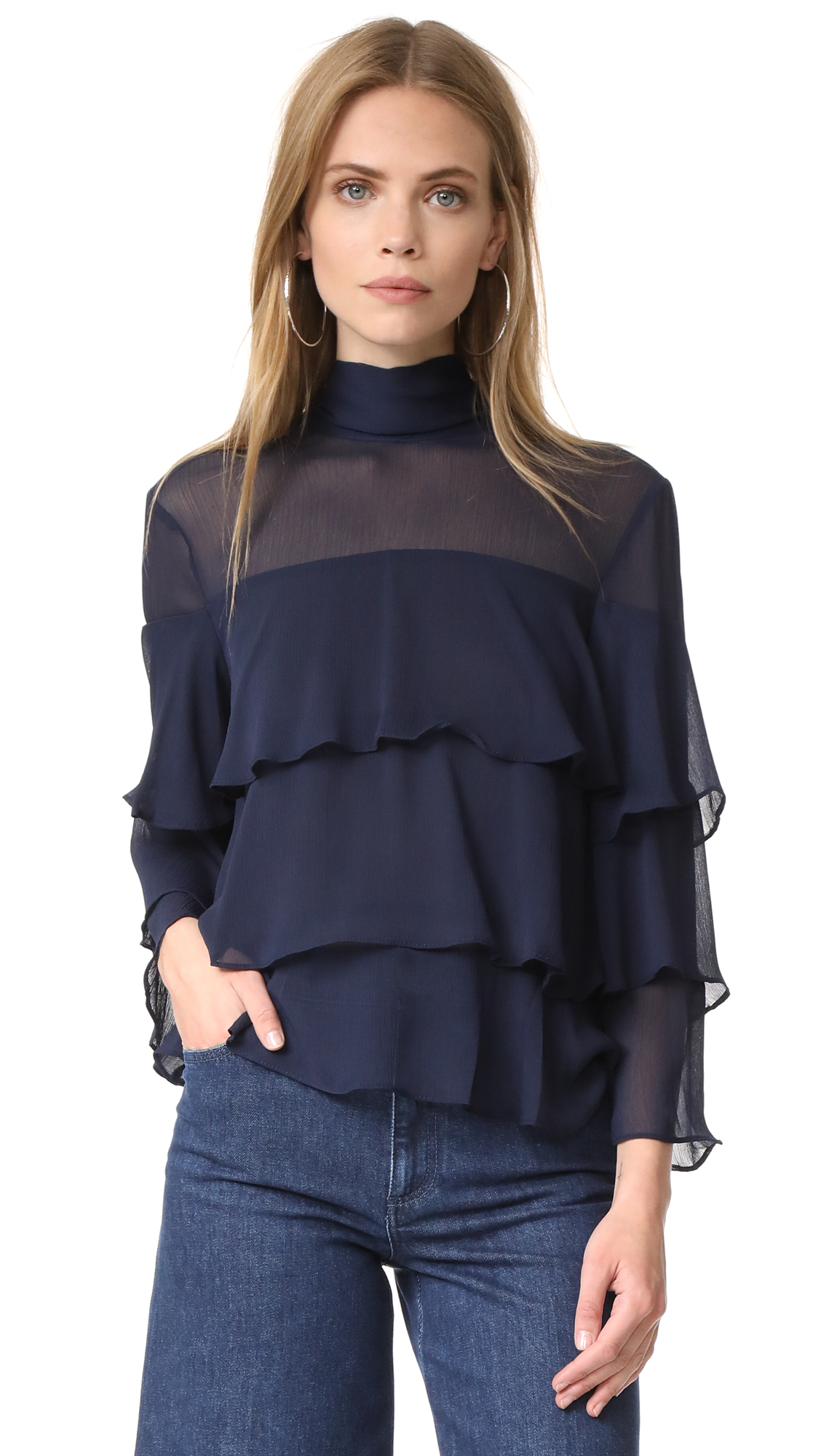 endless rose High Neck Top - Navy