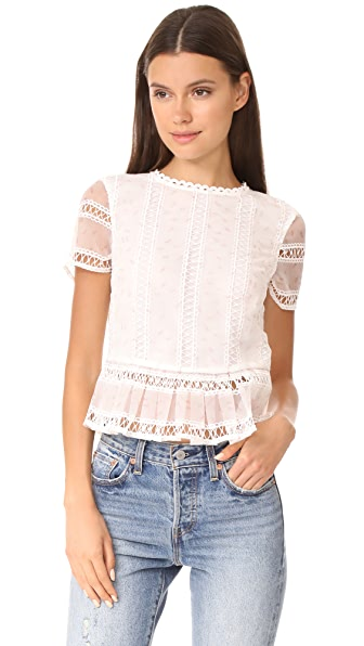 endless rose Organza Pleated Peplum Top In Off White