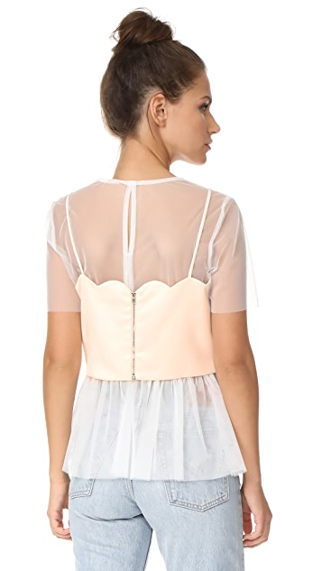 endless rose Mesh Top With Scallop Bralette Overlay