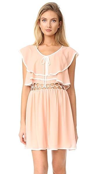 endless rose Open Waist Flared Dress - Tea Rose/White Combo