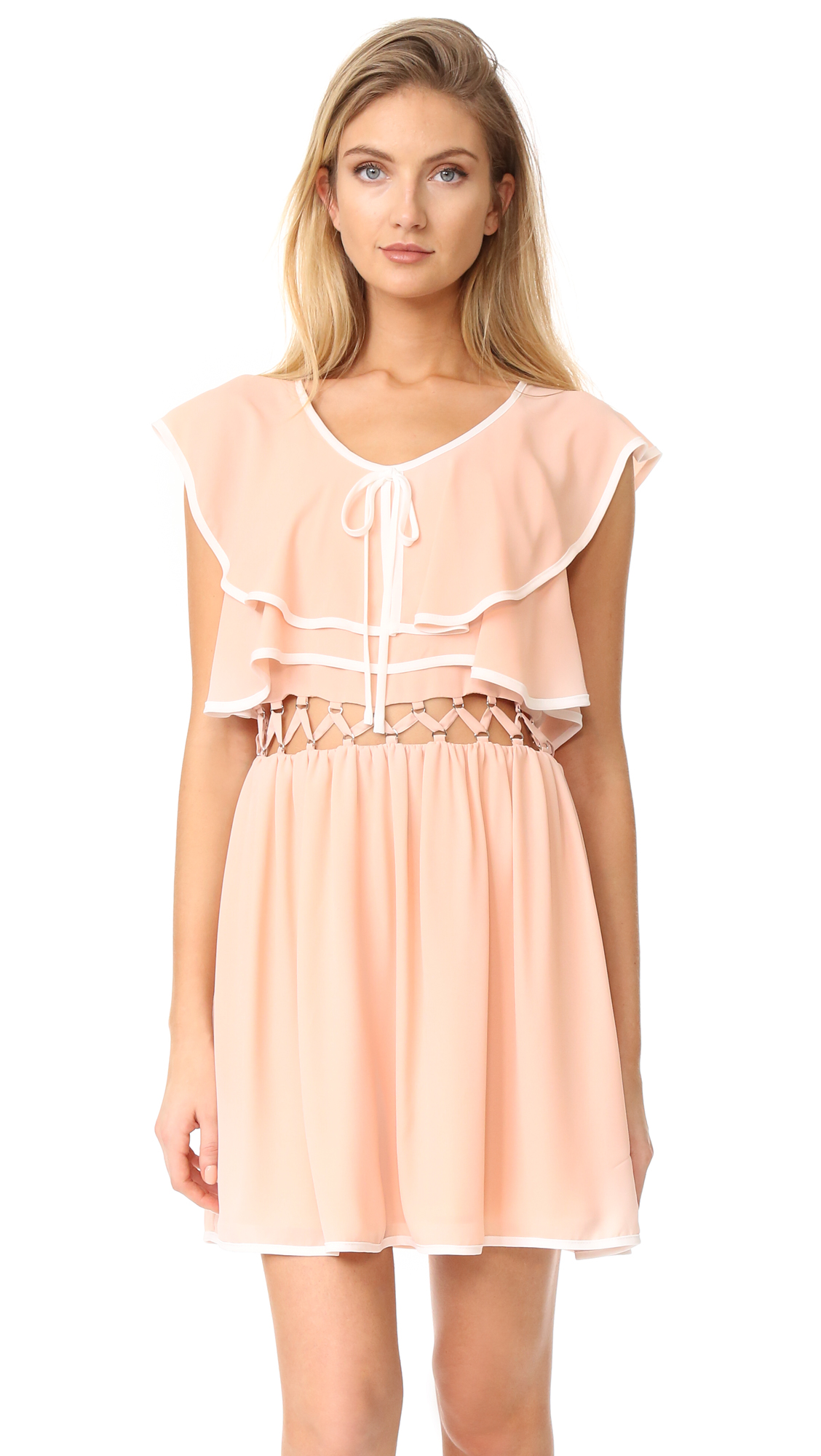 endless rose Open Waist Flared Dress - Tea Rose/White Combo