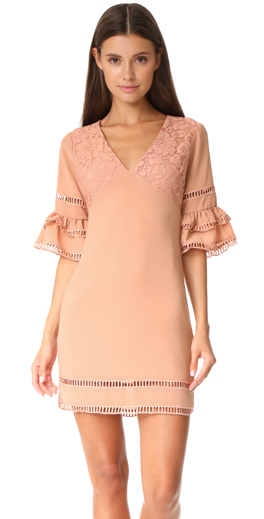 Ruffled Sleeve Dress with Trim Detail endless rose
