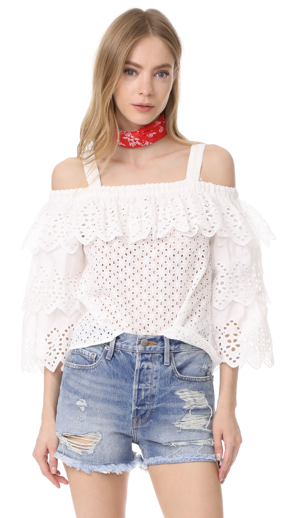 endless rose Cold Shoulder Top with Tiered Sleeves - Off White