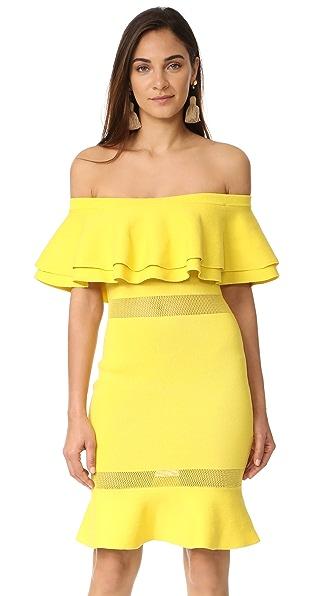 endless rose Flared Off Shoulder Dress - Lemon