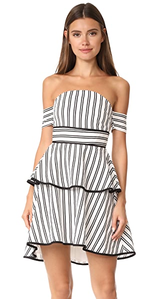 endless rose Striped Off The Shoulder Bustier High Low Dress