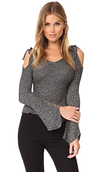 endless rose Cold Shoulder Sweater In Black Combo