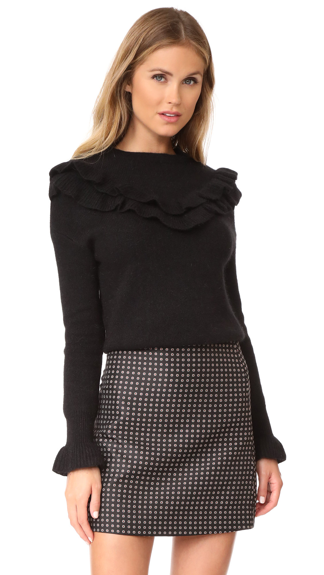 endless rose Ruffle Sweater - Black