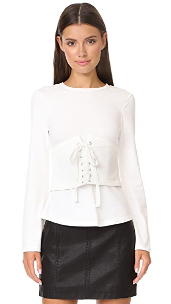 endless rose Bell Sleep Top With Corset - Off White