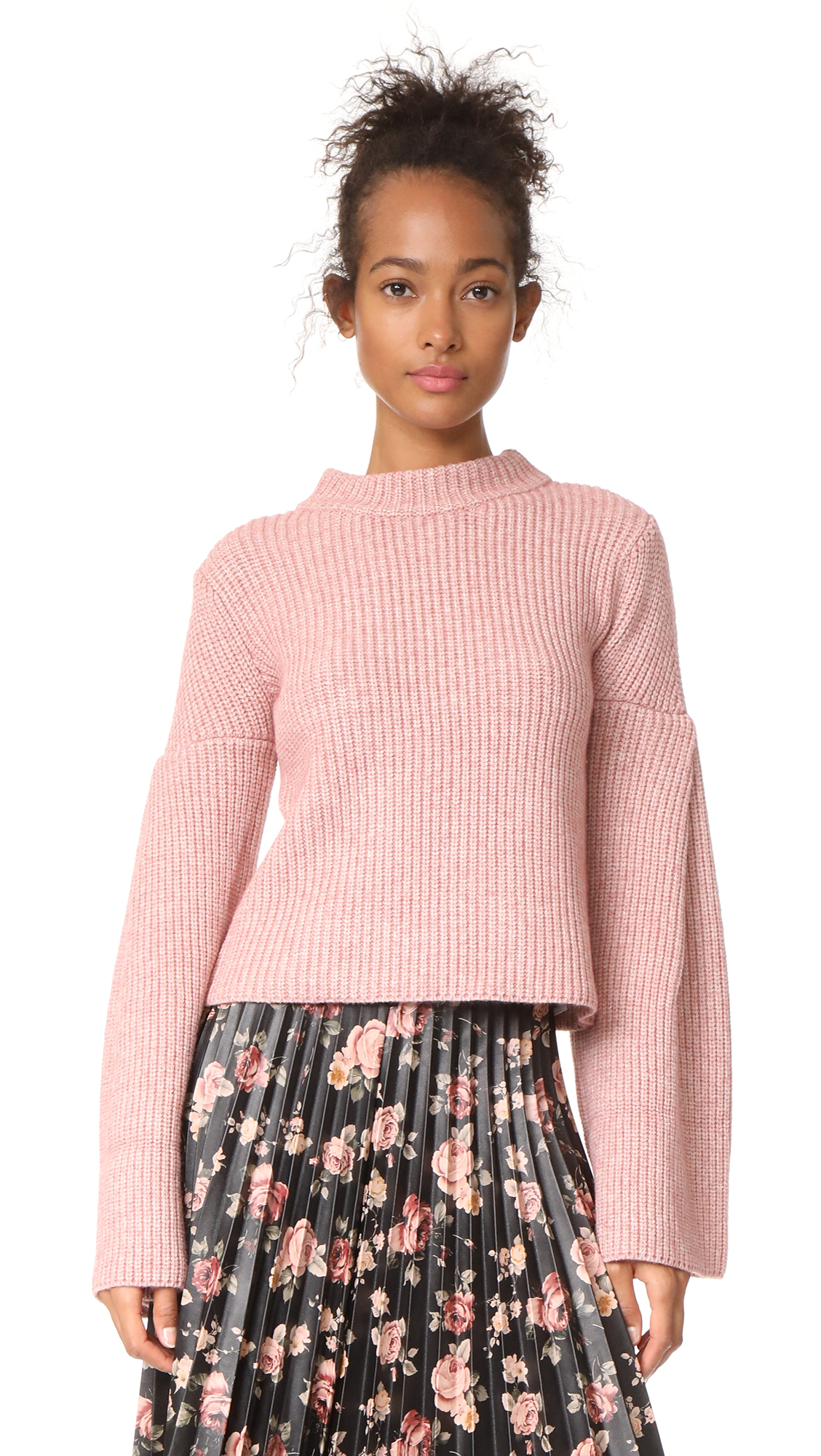 endless rose Bell Sleeve Sweater - Azalea Pink