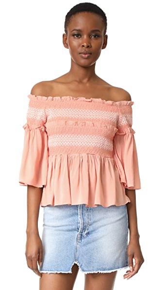 endless rose Smocked Bell Blouse - Nude Pink