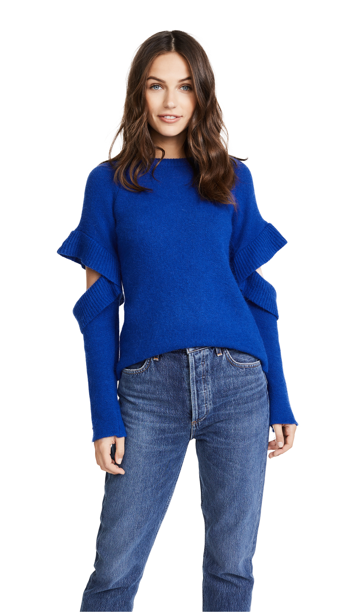 endless rose Sweater with Sleeve Ruffle Detail - Cobalt Blue