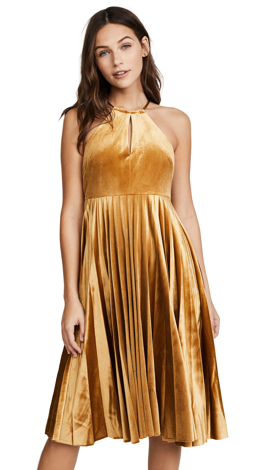 endless rose Strappy Velour Pleated Dress - Golden Yellow