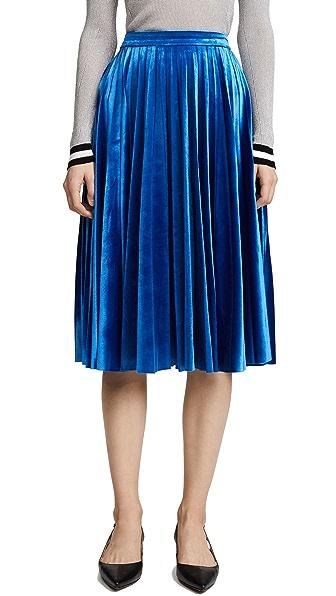 endless rose Pleated Velvet Skirt In Cobalt