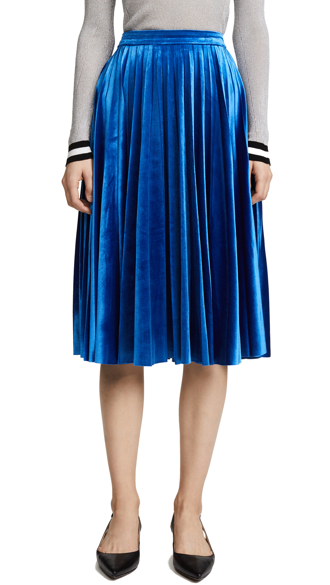 endless rose Pleated Velvet Skirt - Cobalt