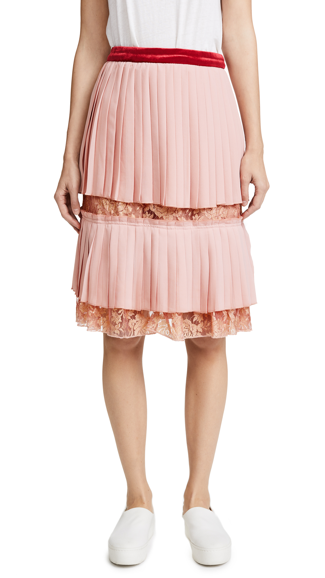 endless rose Pleated Lace Skirt - Dusty Rose