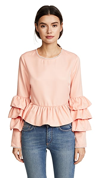 endless rose Tiered Ruffle Sleeve Peplum Blouse In Nude Pink