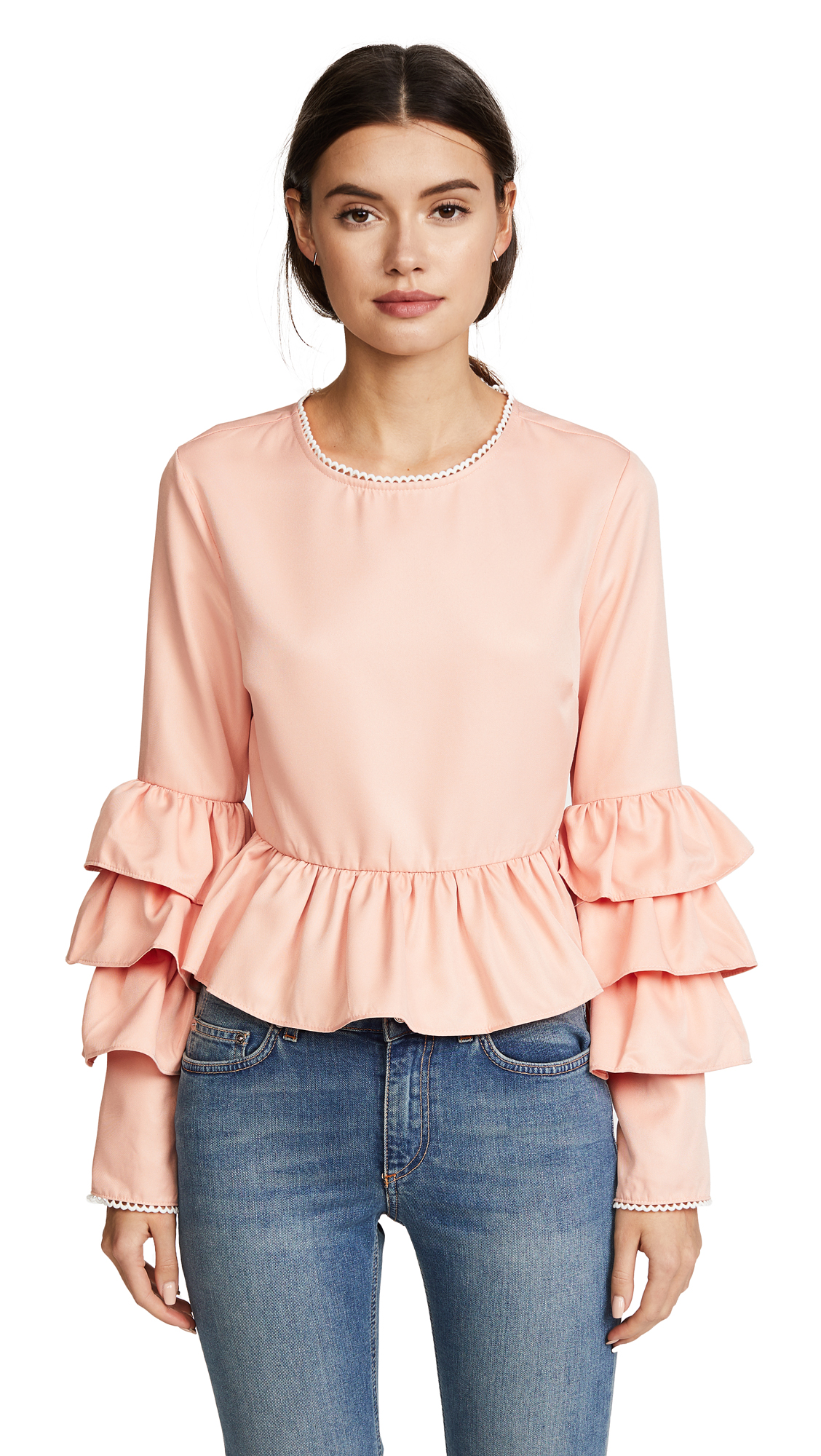 endless rose Tiered Ruffle Sleeve Peplum Blouse - Nude Pink