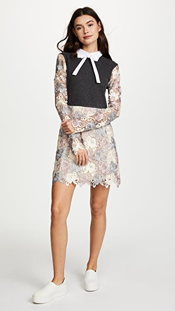endless rose Floral Lace Dress with Ribbon Tie