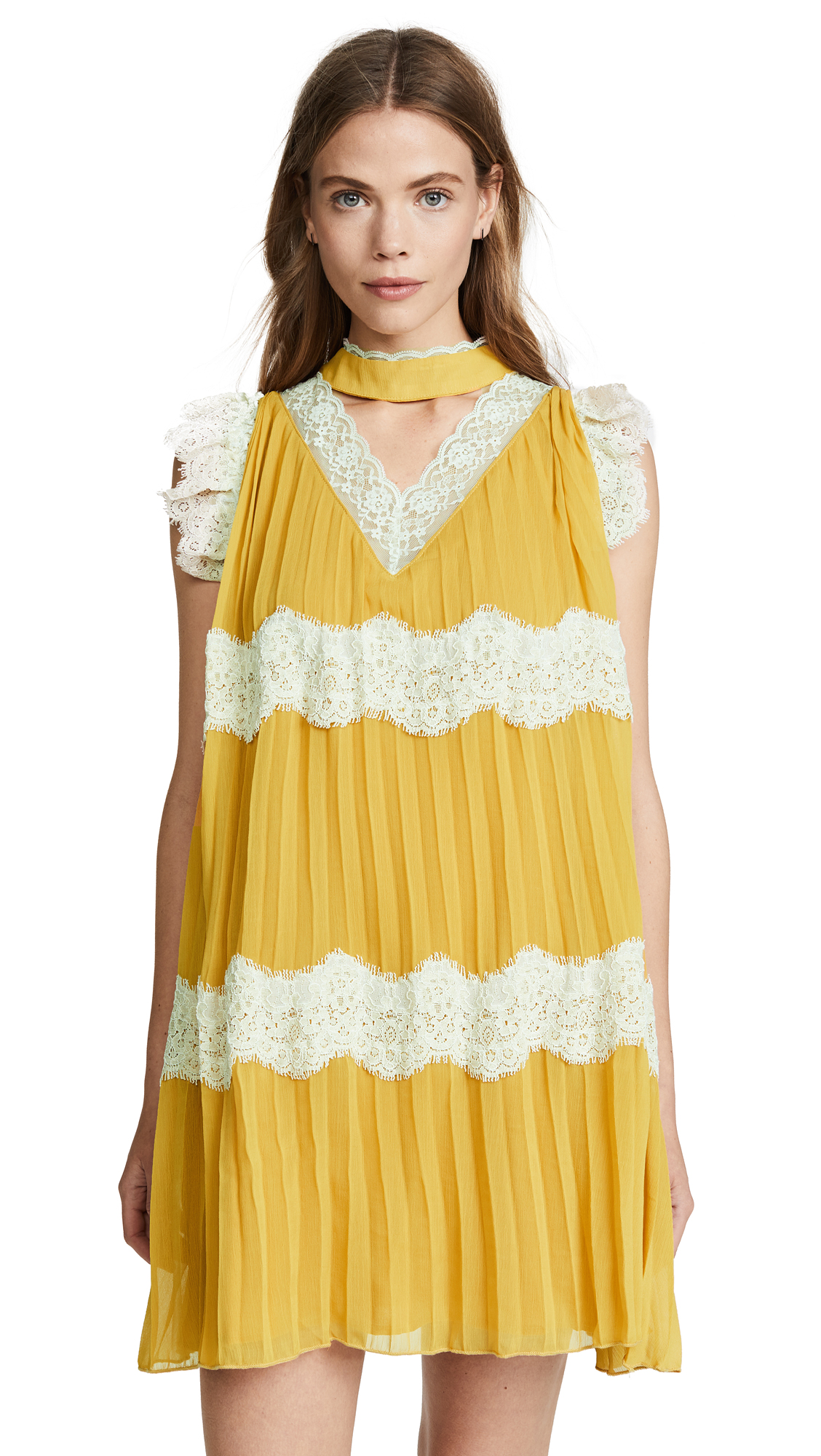 endless rose Pleated Flowy Dress with Choker - Marigold