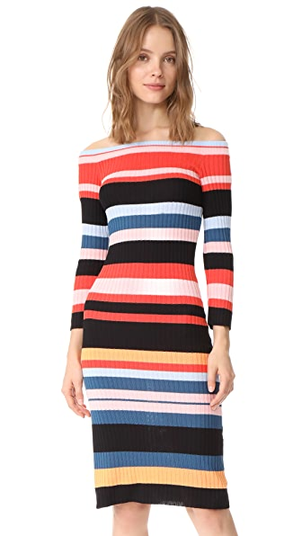 endless rose Striped Midi Dress In Multi