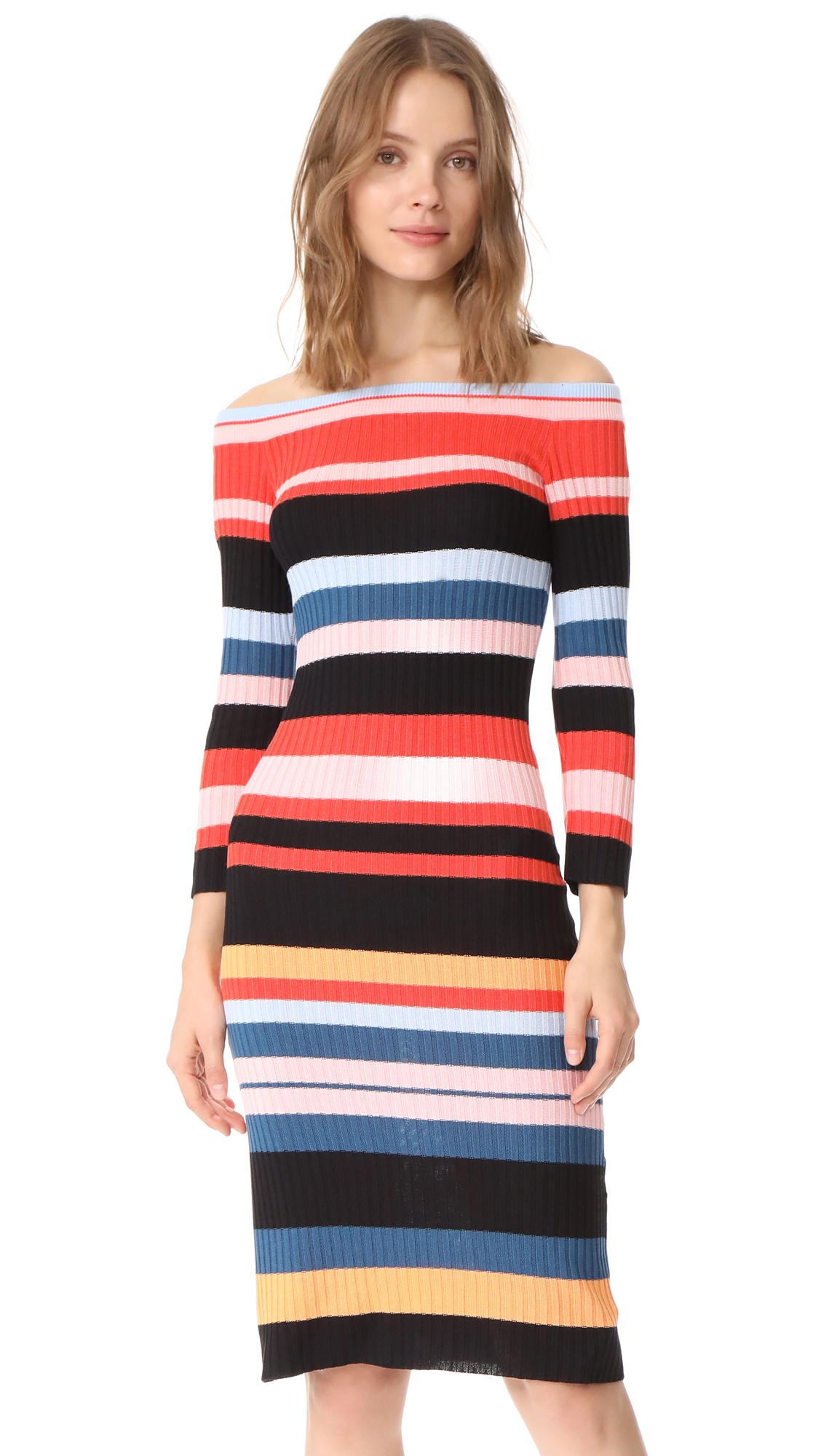 endless rose Striped Midi Dress - Multi
