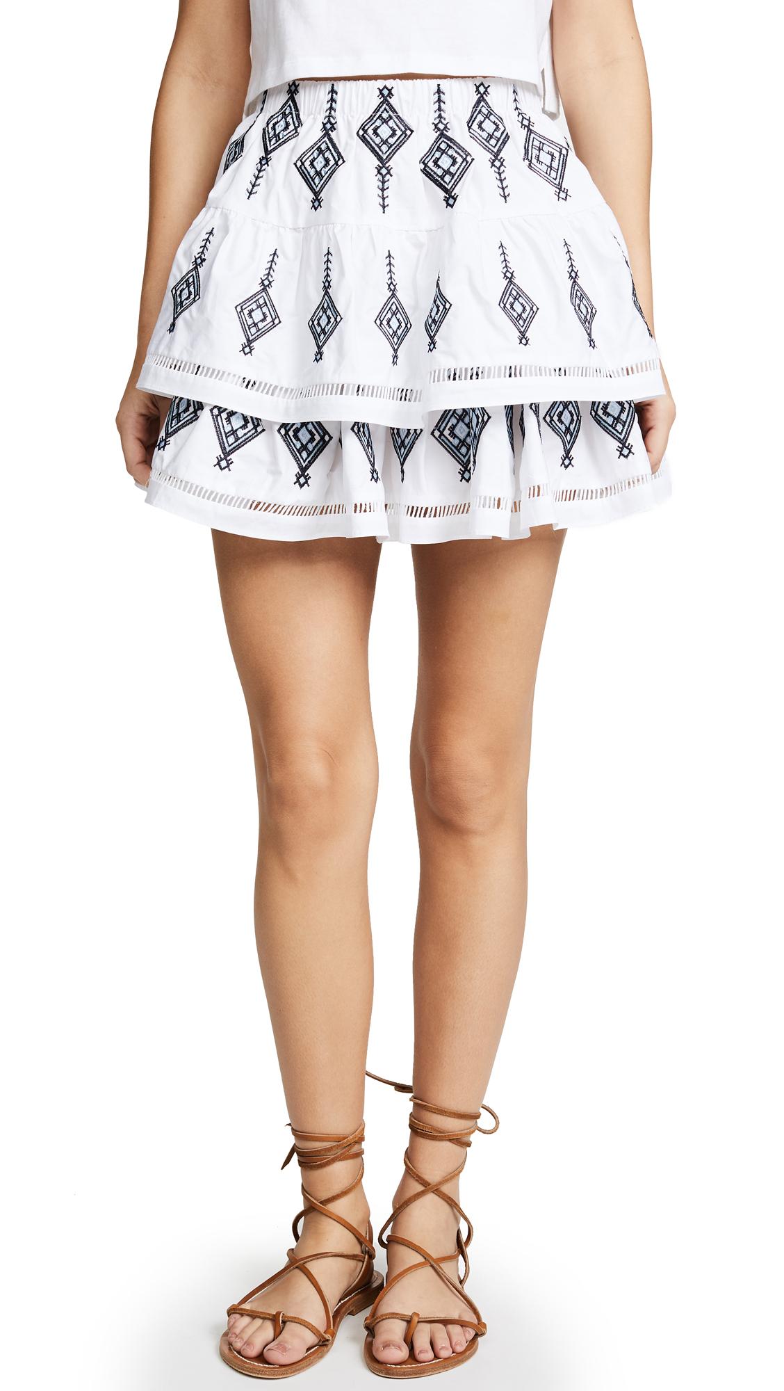 endless rose Shirred Mini Skirt In Blue/White