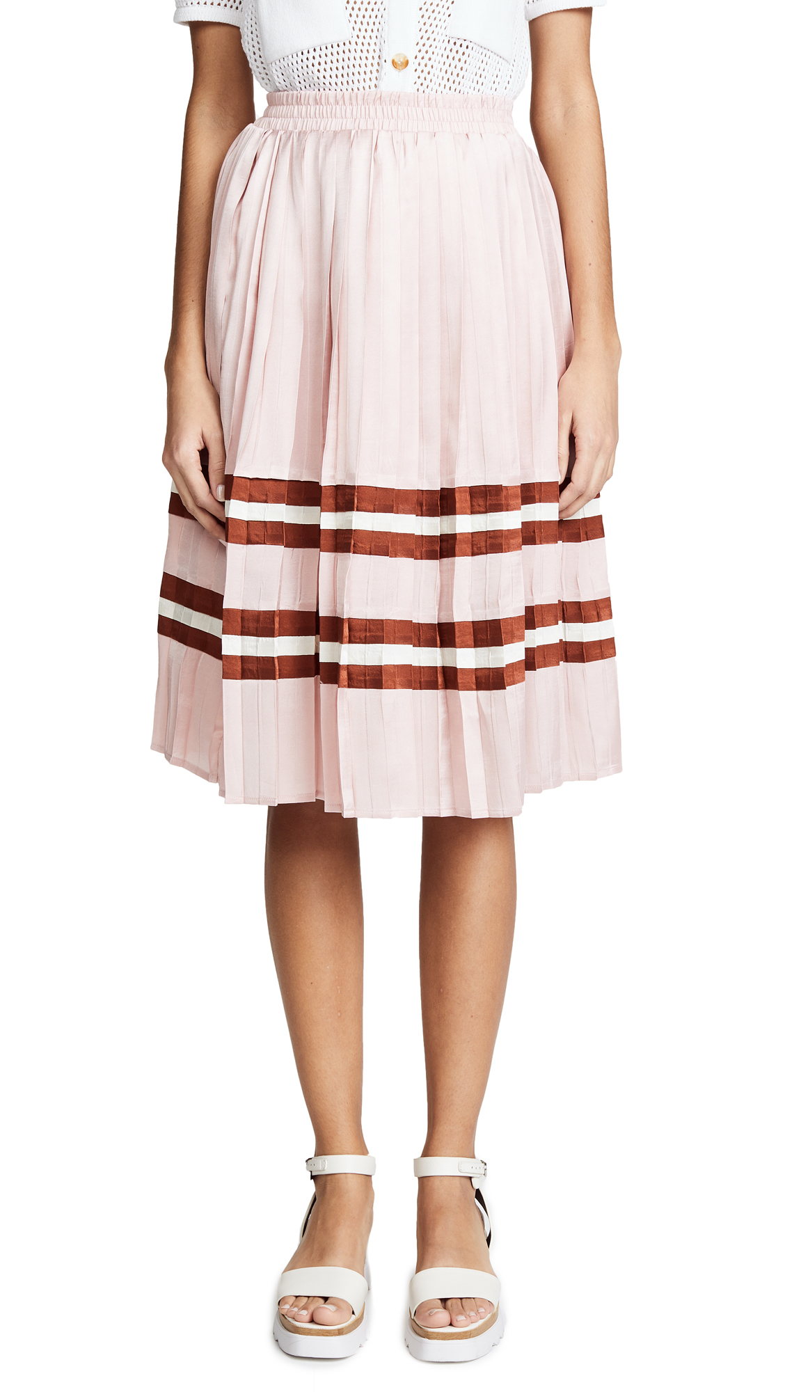 ENDLESS ROSE Pleated Satin Striped Midi Skirt in Mauve Combo