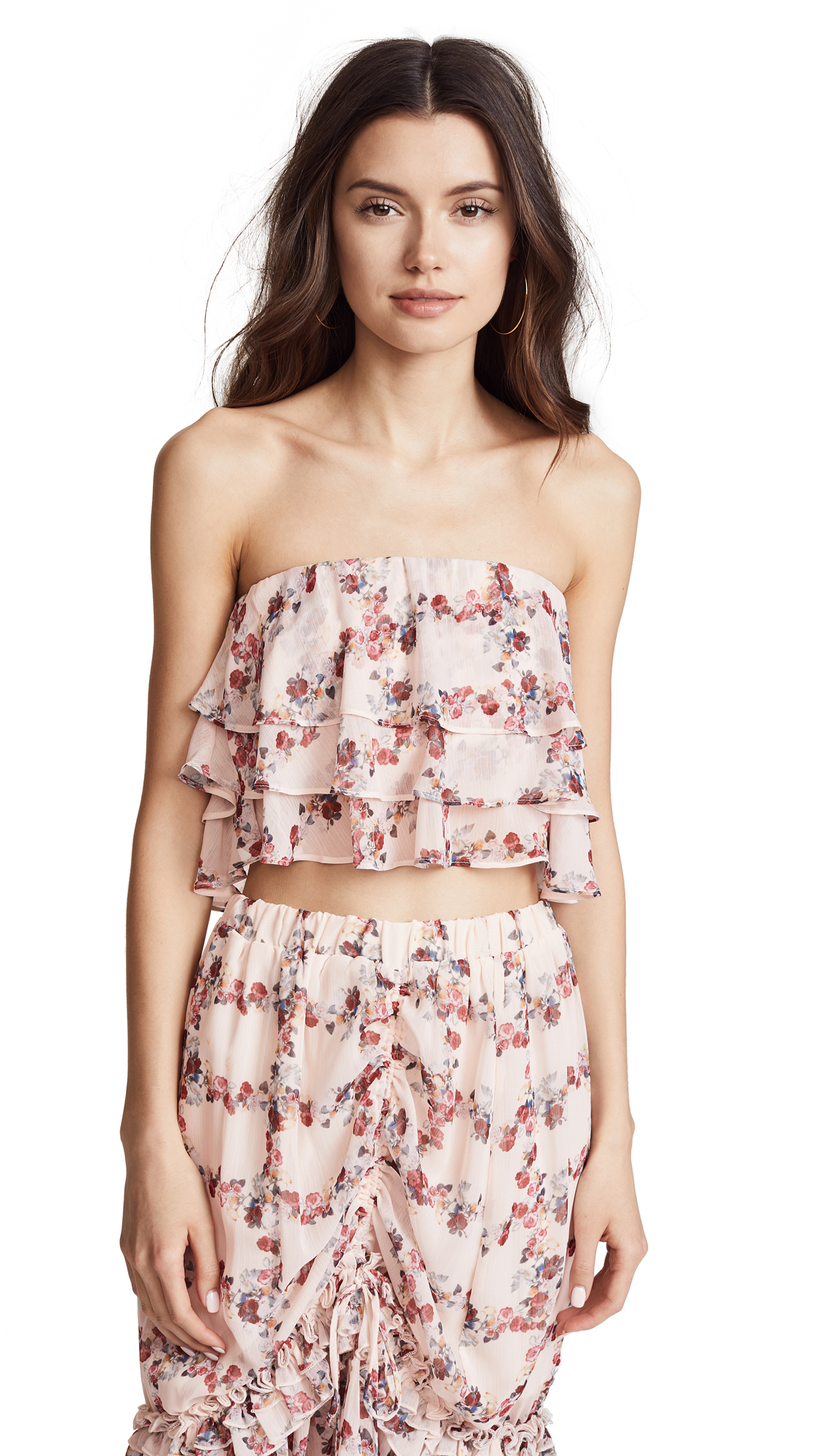 endless rose Ruffled Fence Crop Top In Fence Of Roses