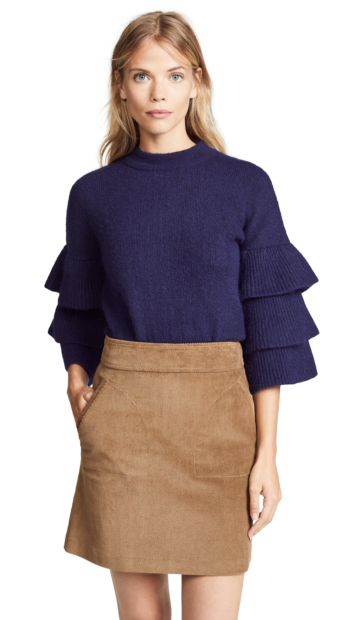 endless rose Ruffle Sleeve Sweater In Navy