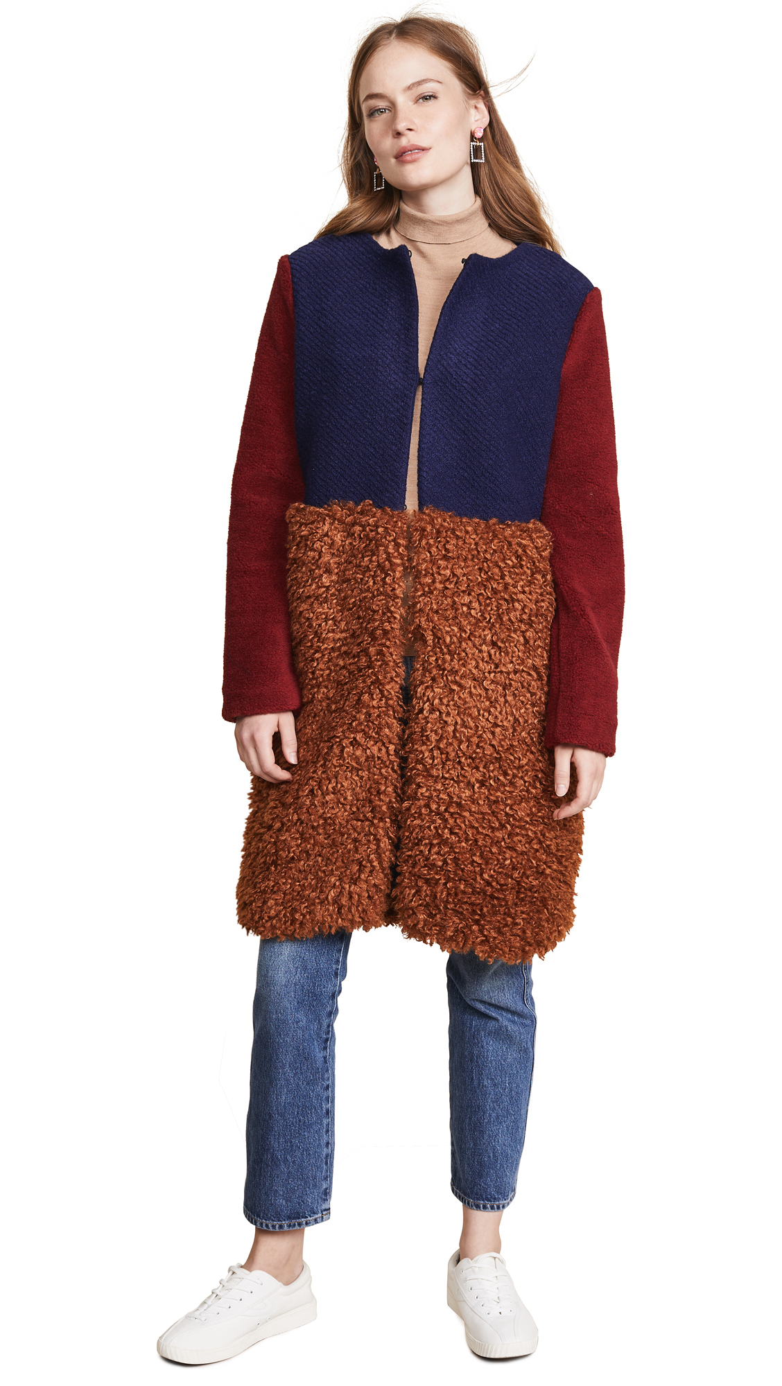 endless rose Fuzzy Colorblock Coat In Brown