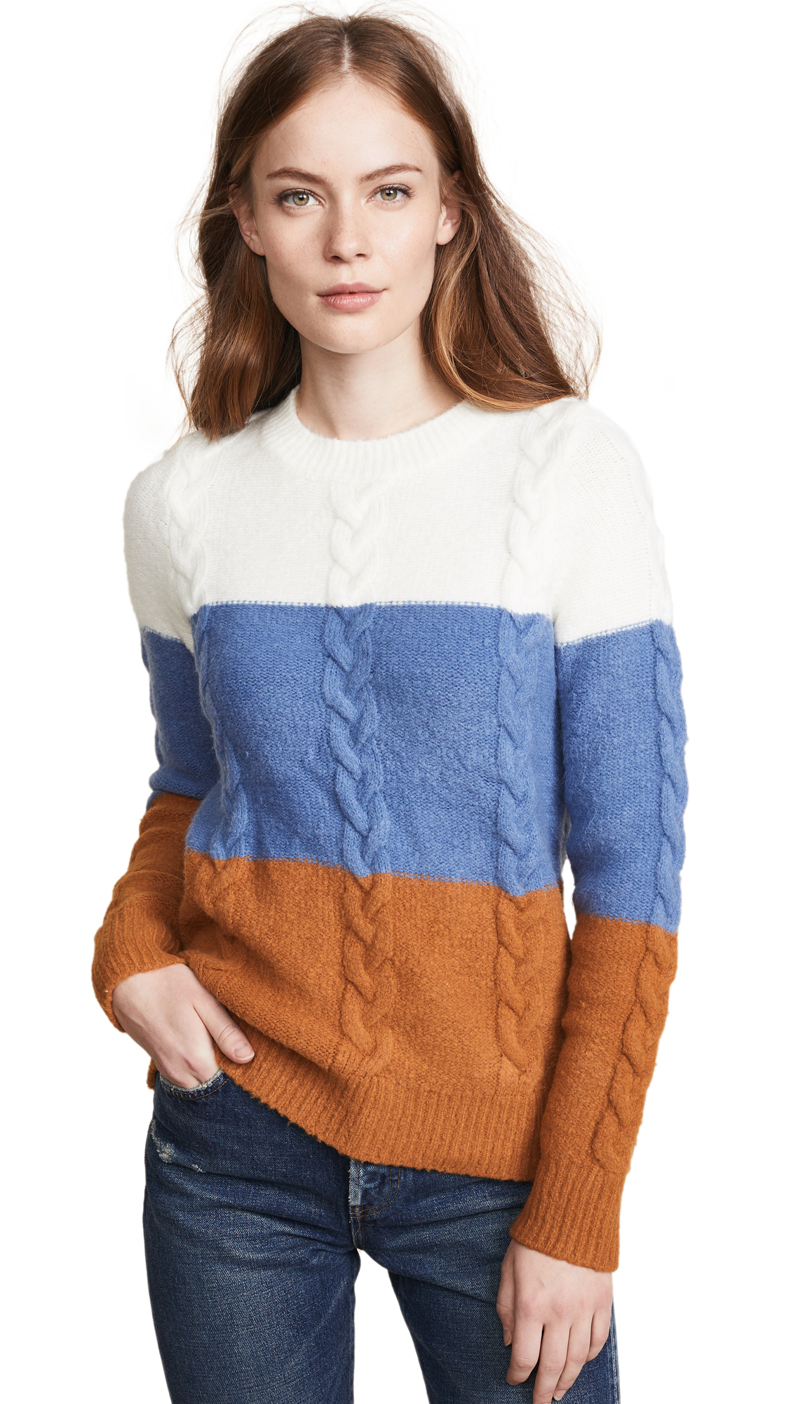 ENDLESS ROSE Cable Knit Striped Sweater in Multi