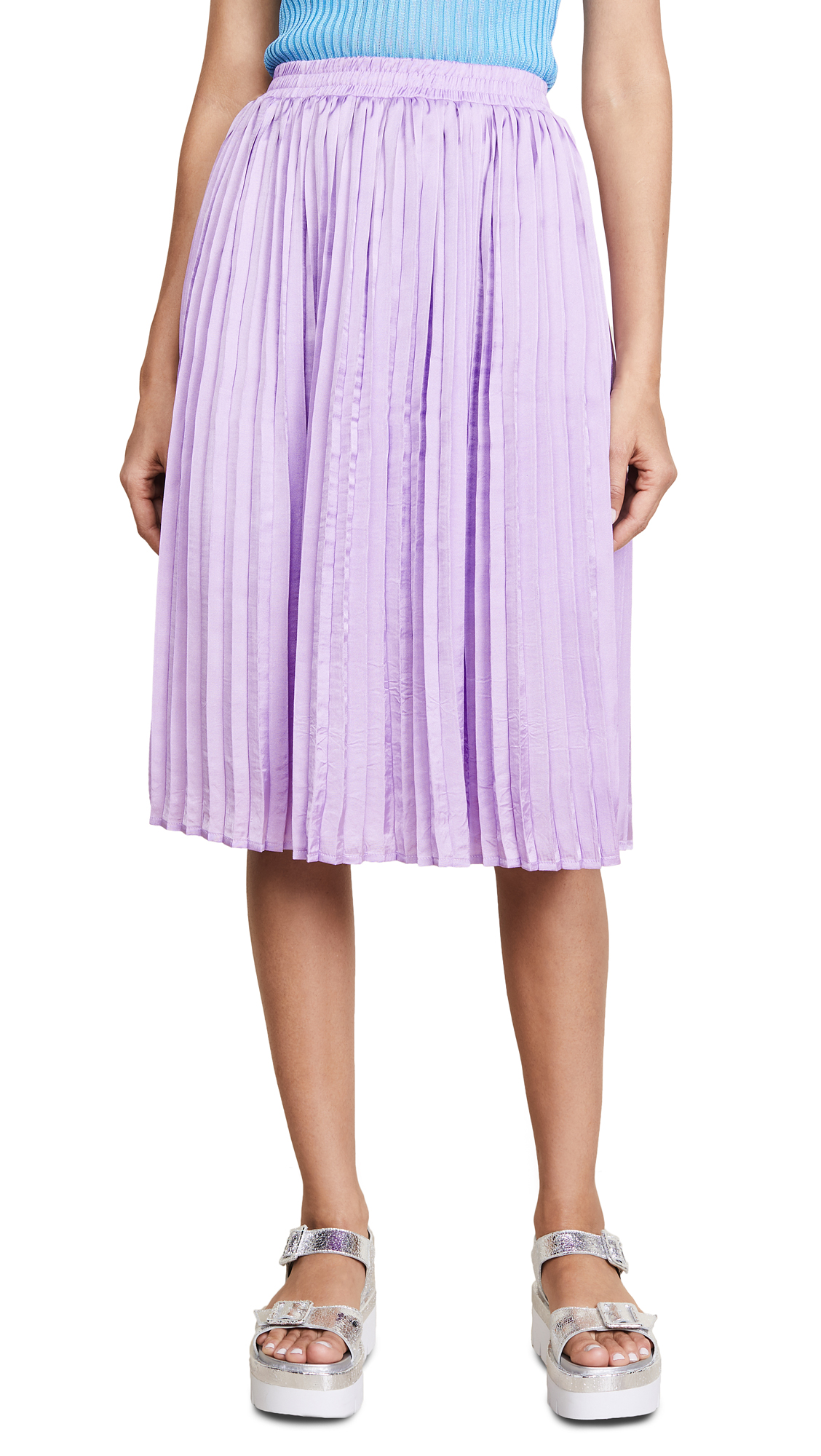 endless rose Pleated Midi Skirt In Lilac