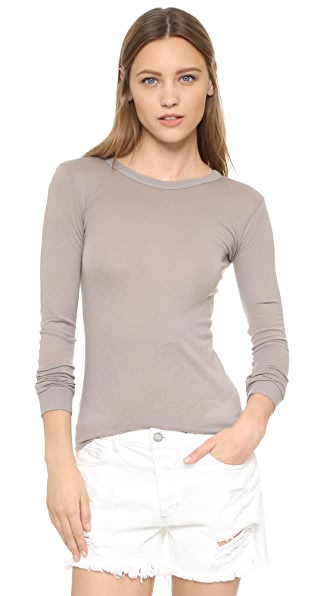 Enza Costa Bold Long Sleeve Crew Neck Tee - Frost Grey