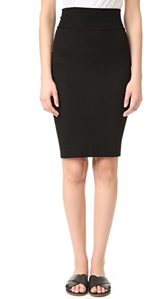 Enza Costa Rib Pencil Skirt - Black