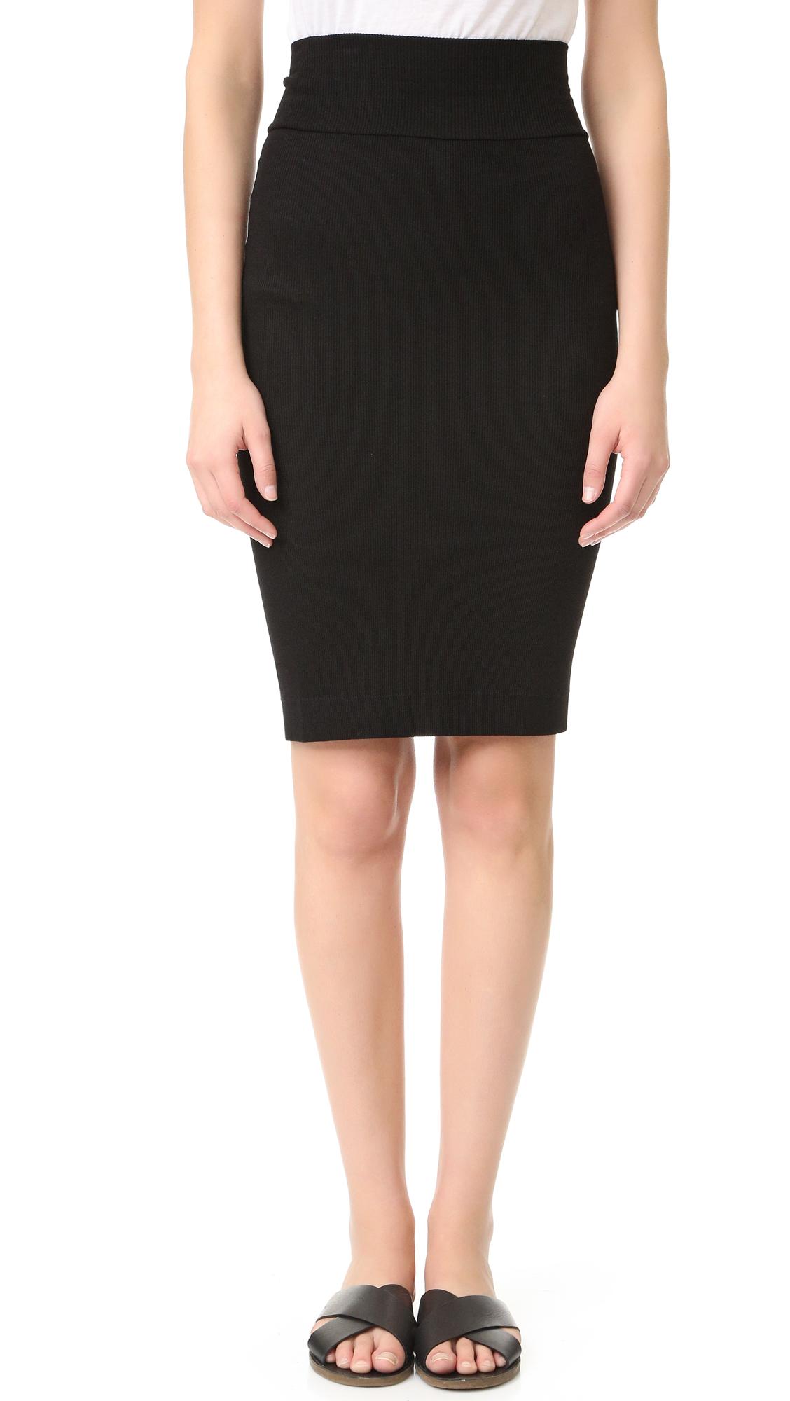Enza Costa Rib Pencil Skirt In Black