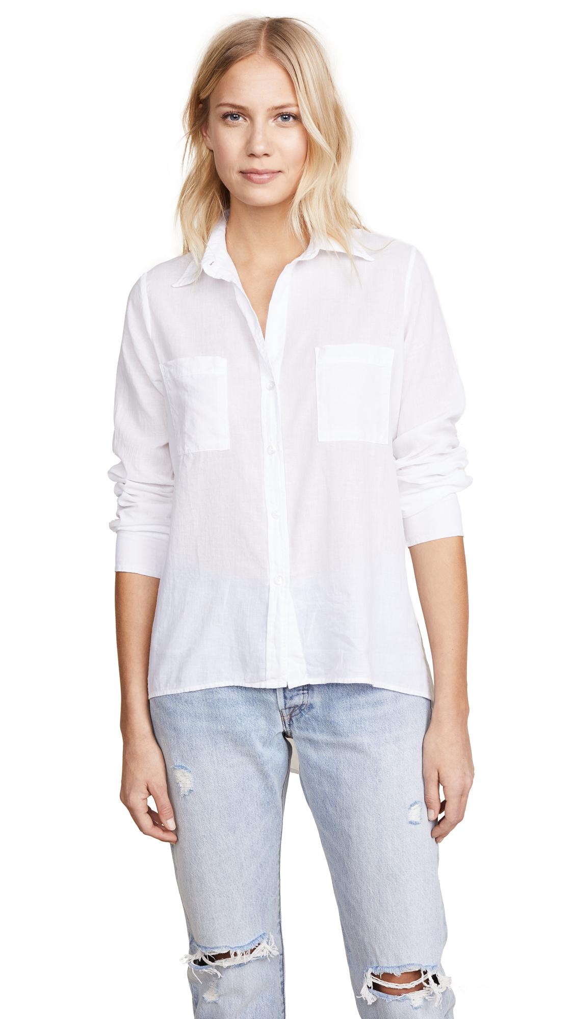 Enza Costa Hi Lo Shirt - White