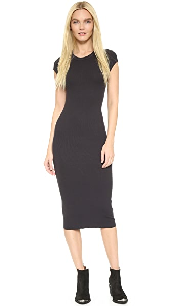 Enza Costa Ribbed Cap Sleeve Dress - Phantom