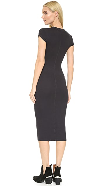 Enza Costa Ribbed Cap Sleeve Dress