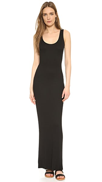 Enza Costa Ribbed Tank Maxi Dress In Black
