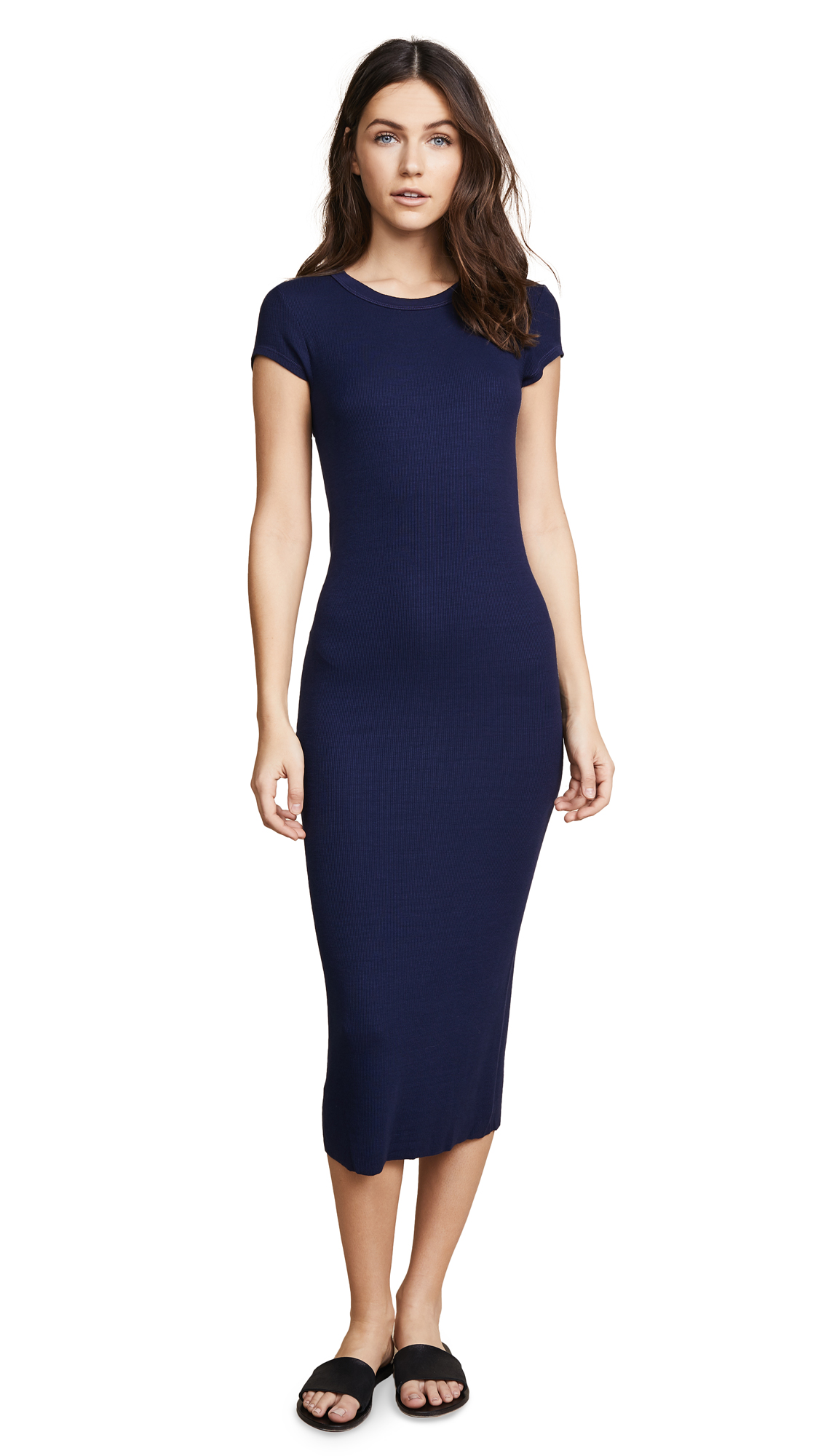 Enza Costa Ribbed Cap Sleeve Dress - Atlantic