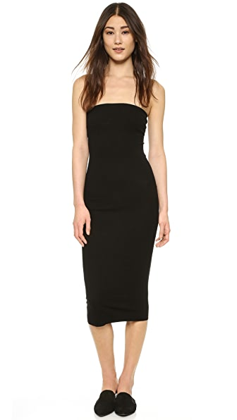 Enza Costa Strapless Rib Dress - Black