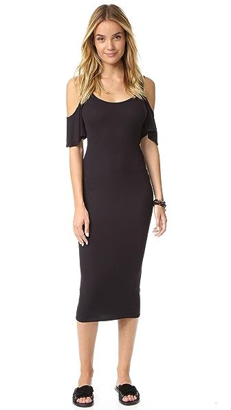 Enza Costa Rib Flutter Sleeve Dress