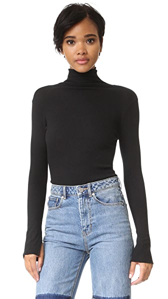 Enza Costa Heather Rib Split Cuff Turtleneck