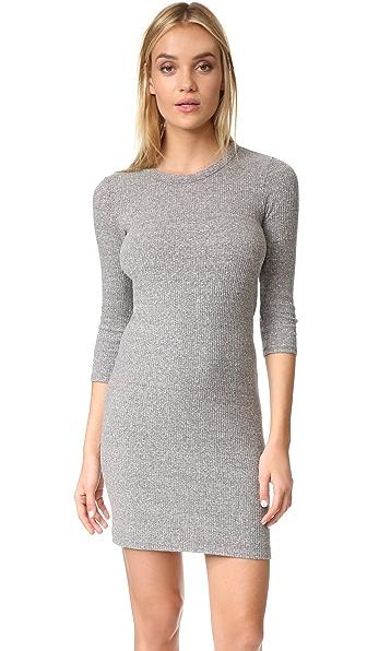 Enza Costa 3/4 Sleeve Mini Dress - Heather Grey